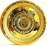 Hindú Puja Thali hecho a mano – símbolo Om grabado y GayatriMantra – Regalos religiosos – Diámetro: 34,3 cm, para diwali y regalos de festivales (artículo religioso Pooja Thali)