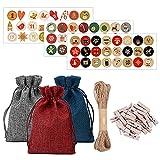 QLINDGK 24 bolsas de regalo de Navidad con cordón, bolsas de...