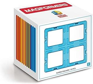 Magformers Super Square 12 Pieces Rainbow Colors, Educational Magnetic Geometric Shapes Tiles Building STEM Toy Set Ages 3+