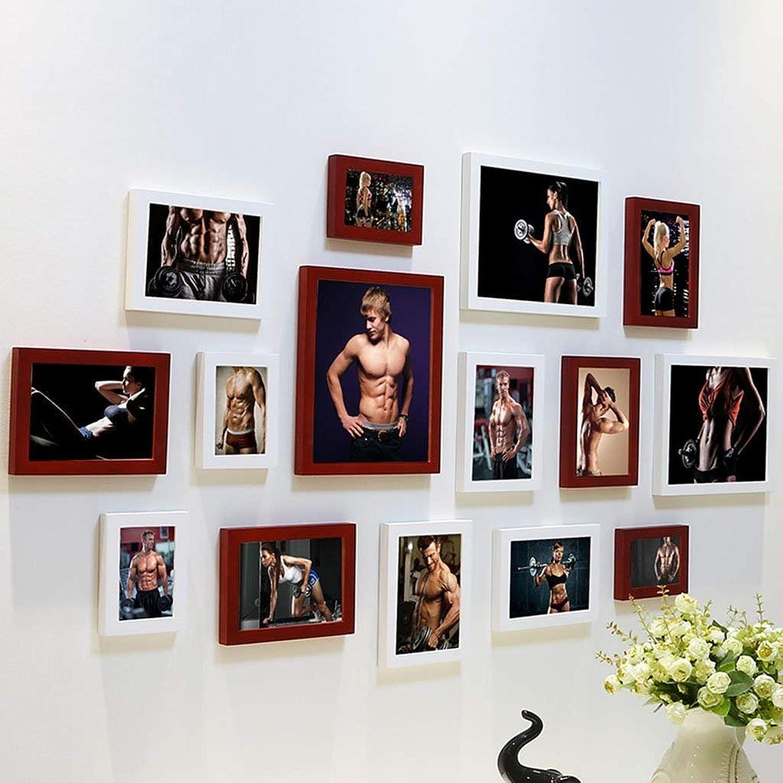 &Decorative Walls DIY Photo Frame Sets,Living Room Photo Frame Wall Creative Combination Sofa Background Frames Sets of 15 Fashionable Design (color   G, Size   15frames 135  75CM)