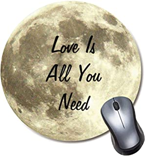 Yaxazepluy - Love is All You Need Moon Mouse Pad, Gaming Round Mousepad for Computer Laptop Non-Slip Rubber Desk Mat,Cute ...