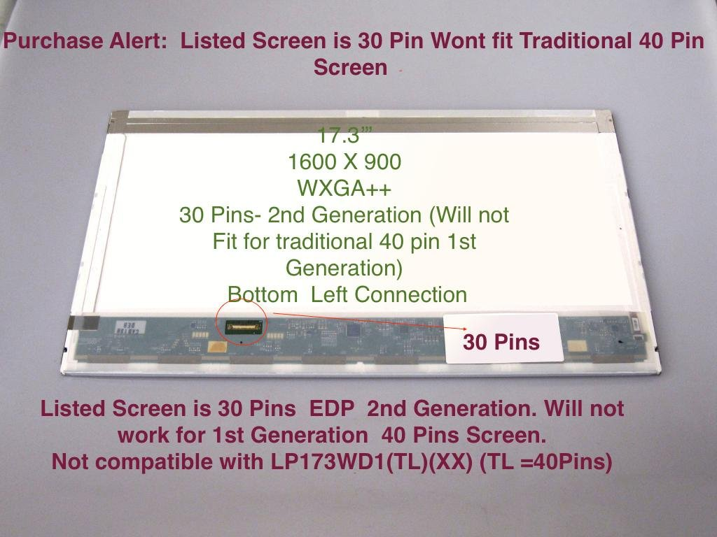 """17.3/"""" WXGA+ laptop LCD SCREEN LED replacement TL G2 NEW LP173WD1"""