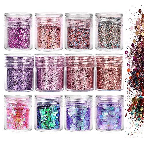 Glitzer Für Gesicht Körper Glitzer 12 Boxen Glitter Make Up Set - Glitzer Sequin Chunky Glitter für Gesicht Nägel Augen Lippen Haare Körper für Musik Festival Masquerade Halloween Party