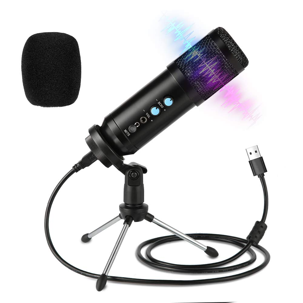 USB Microphone 3.5mm Podcast Microphone Portable USB Microphone Kit with Tripod Bracket for Recordings for YouTube Music Record Games Broadcast Voiceovers