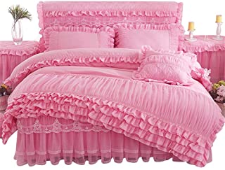 Lotus Karen Rose Princess Bed Sets Multi Layers Ruffles with Lace Girls Bedding Set Romantic Korean Style Bed Cover Set fo...
