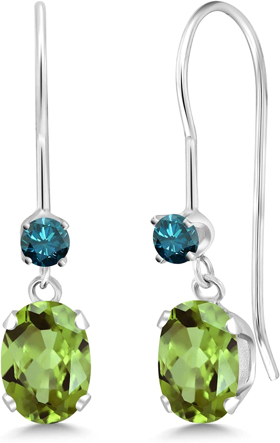 1.13 Ct Oval Green Peridot bluee Diamond 14K White gold Earrings