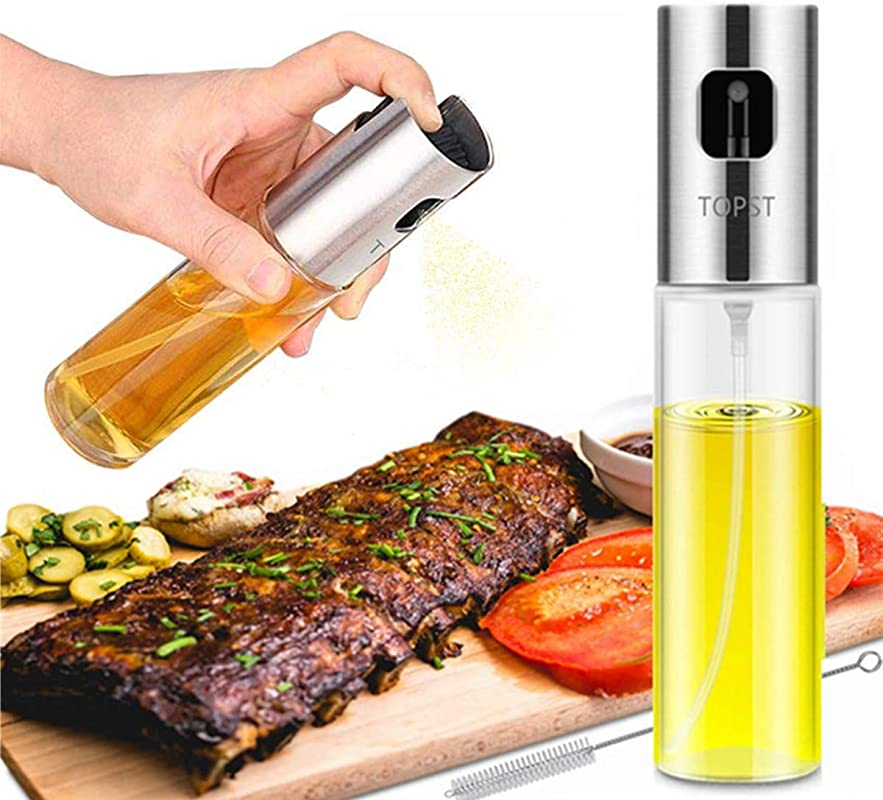 Olive Oil Sprayer Transparent Food Grade Glass Oil Spray Portable Spray Bottle Vinegar Bottle Oil Dispenser For For BBQ Making Salard Cooking Baking Roasting Grilling Frying Kitchen Stainless Steel