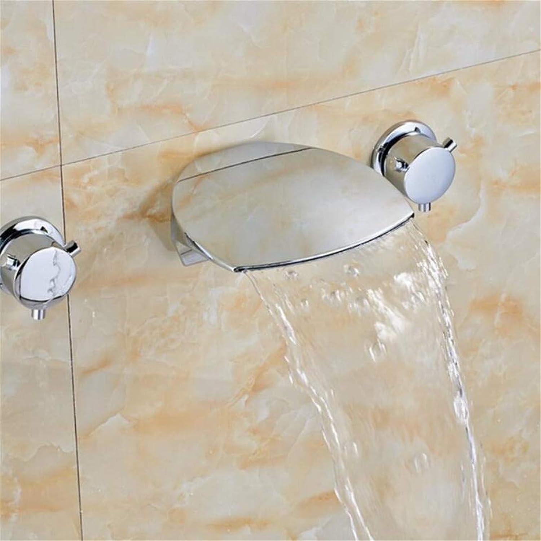 Wasserhahn Waschtischmischer chrom Design Wasserfall Auslauf Bad Wasserhahn Wandhalterung 3 Lcher Waschbecken Mischbatterie