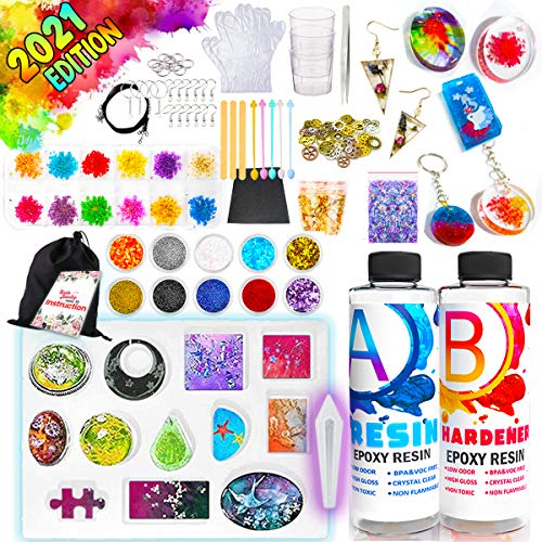 GoodyKing Resin Jewelry Making Starter Kit - Resin Kits for Beginners with Molds and Resin Jewelry Making Supplies - Silicone Casting Mold, Tools Set Clear Epoxy Resin for DIY Jewelry Craft (Medium)