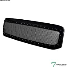 Topline Autopart Glossy Black RVT Rivet Bolt Steel Mesh Front Hood Bumper Grill Grille For 99-04 Ford F250 / F350 / F450 / F550 Superduty / 00-04 Excursion