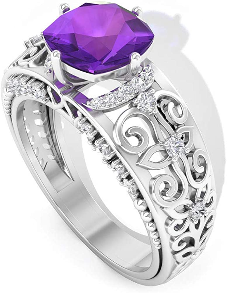 Cushion Shaped 1.66 CT Amethyst Challenge Inventory cleanup selling sale the lowest price Ring Antique Diamond Engagement