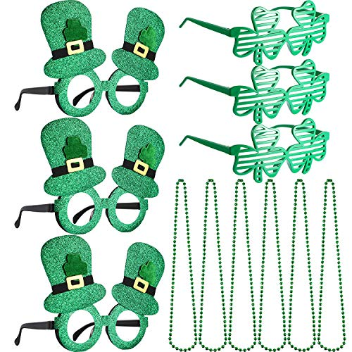Leinuosen 12 Pieces St Patrick's Day Shamrock Eyeglasses Clover Slotted Glasses Green Beads Necklace Saint Patricks Party Supplies Accessories