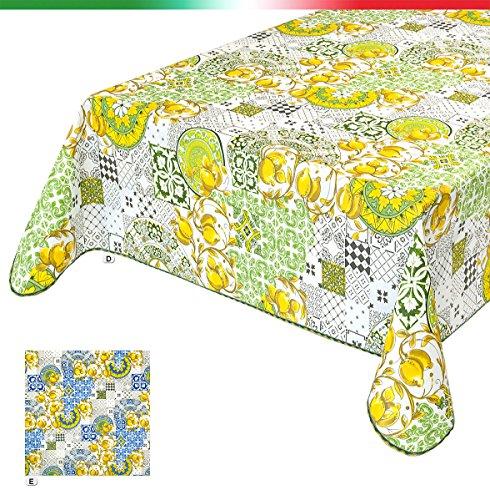 emmevi Mantel Cocina Limones Resistente a Las Manchas Bordada Algodón plastificado Ultra Resistente Varias Medidas% Made in Italy Mod.cinz50