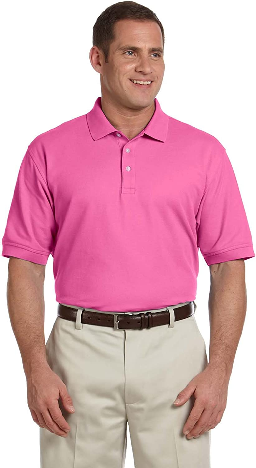- Devon Devon Devon & Jones Men's Pima Pique Short Sleeve Polo, Charity Pink 575259