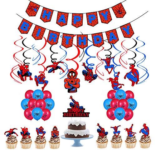 smileh Decoracion Cumpleaños de Spiderman Globos Feliz Cumpleaños del Pancarta Adornos de Pastel Remolinos Colgantes para Niños Decoraciones de Fiesta Cumpleaños Spider Man