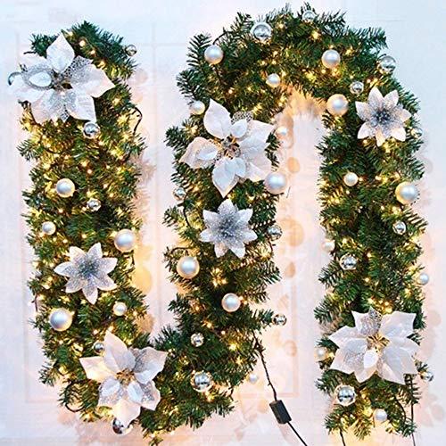 Guirnalda de Navidad, 2.7m Vides de flores artificiales de Navidad guirnaldas Decoradas, Luces LED iluminadas, Bolas de Flores, árbol de Navidad decoración Festiva, Decoración navideña de ratán