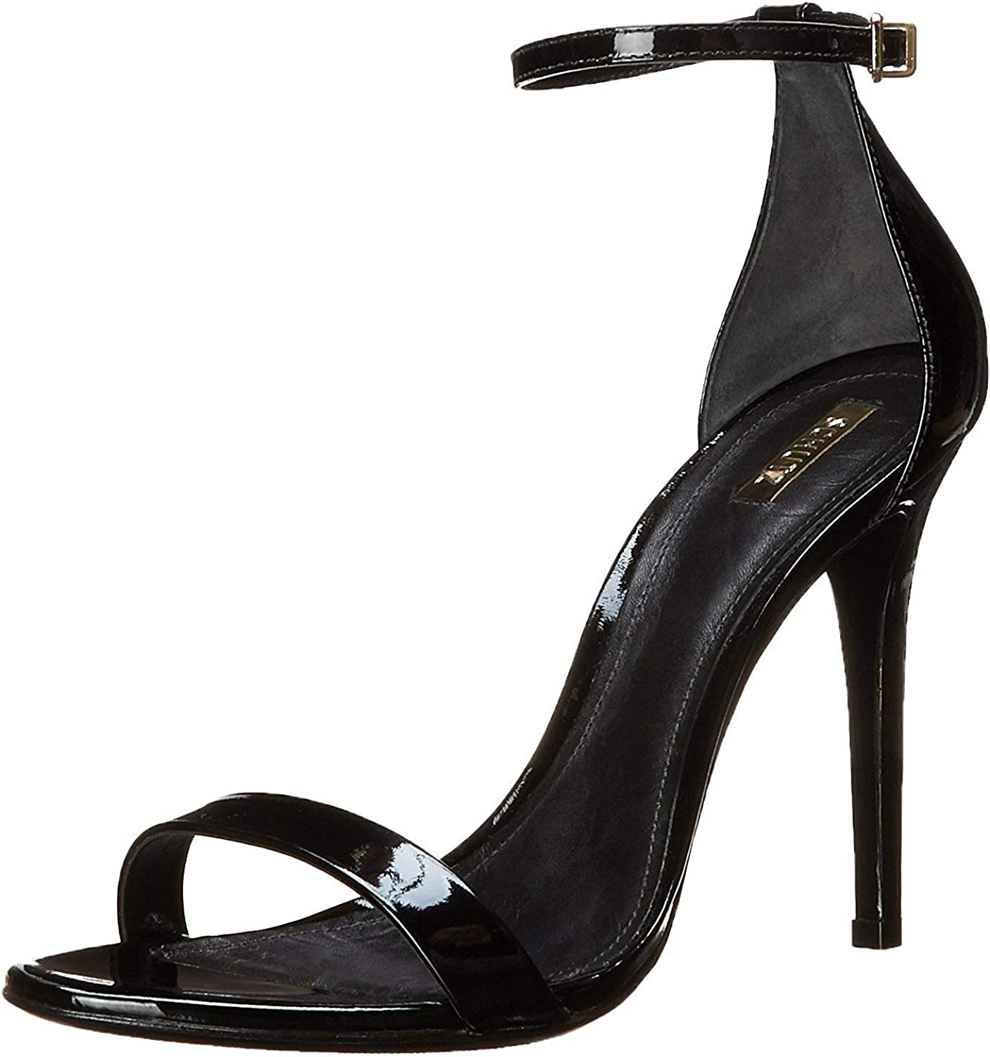 Schutz Womens Cadey Leather Open Toe Formal Ankle Strap, Black Patent, Size 7.5