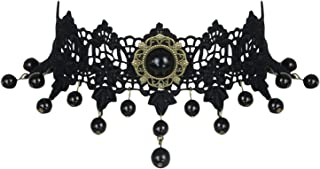 Charmian Women's Steampunk Accessories Costume Cosplay Lace Choker Beads Chain Decorative Necklace