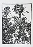 Half a Donkey Skeleton and Roses Gothic Design Cotton Tea Towel