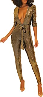 0a31508f52 Chicmay Women Sparkly Glitter Jumpsuit Deep V Neck Long Sleeve Bodycon Long  Romper Clubwear with Belt