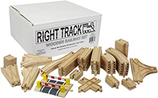 Right Track Toys Wooden Train Track Deluxe Set: 56 Premium Wood Pieces 100% Compatible with Thomas - All Tracks and No Fillers