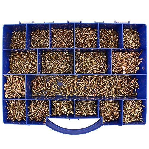 3150 tlg Spanplattenschrauben Sortiment Senkkopf gelb Torx 3x12-4,5x20