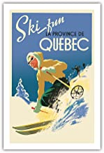 Pacifica Island Art Quebec, Canadá – Póster de la Provincia de Quebec con Texto en inglés Ski Fun in The Provence of Quebec – Vintage World Travel c.1930 – Fine Art Print