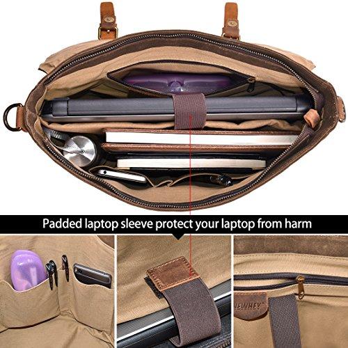 Herren Messenger Bag 39,6 cm (15,6 Zoll), wasserdicht, Vintage, echtes Leder, gewachstes Leinen, Aktentasche, große Umhängetasche, Umhängetasche, robustes Leder, Computer, Laptop, Buchtasche, Braun
