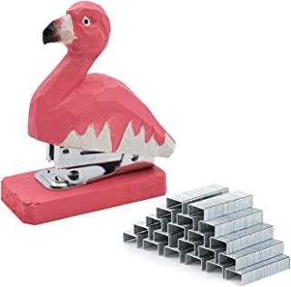 VIPbuy Handmade Mini Stapler with 1000 Staples, 20 Sheet Capacity - Wood Carving Flamingo Pattern Desk Ornament Gift