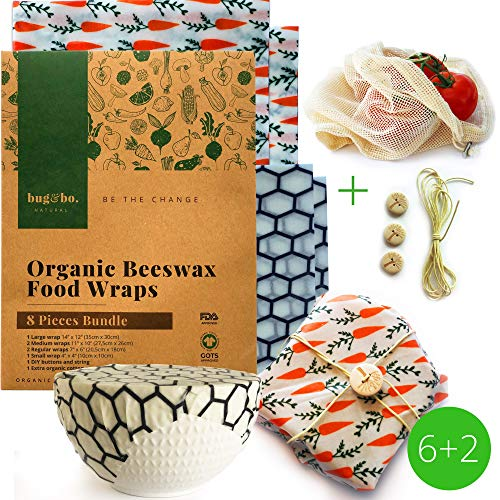 Bug and bo. Natural Bienenwachstücher für Lebensmittel – Beeswax Wrap Set 8-teiliges Paket mit Baumwollnetzbeutel und DIY-Set | Umweltfreundliche Wiederverwendbare Plastikalternative in der Küche