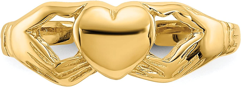 14k Polished Yellow Gold Claddagh Symbol Toe Ring