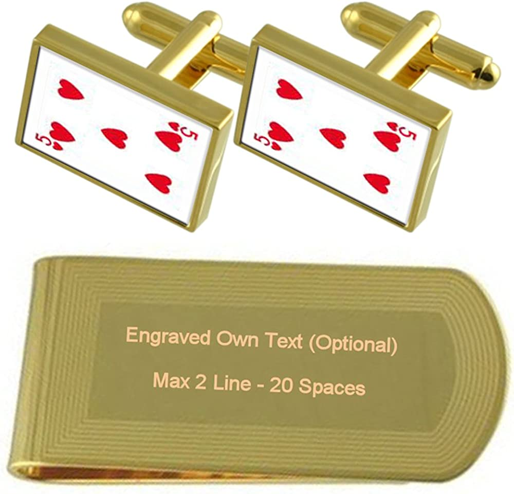 Cheap mail order shopping Heart Playing Card number 5 Money Engra Cheap super special price Gold-tone Cufflinks Clip