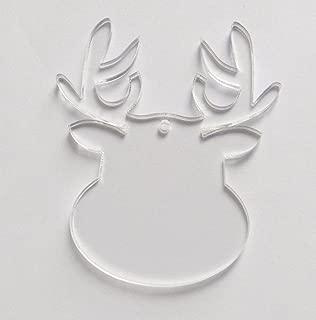 10PCS of Clear Blank Acrylic Reindeer Keychains Laser Cut Acrylic Christmas Ornaments,Clear Acrylic Laser Cut (2.5