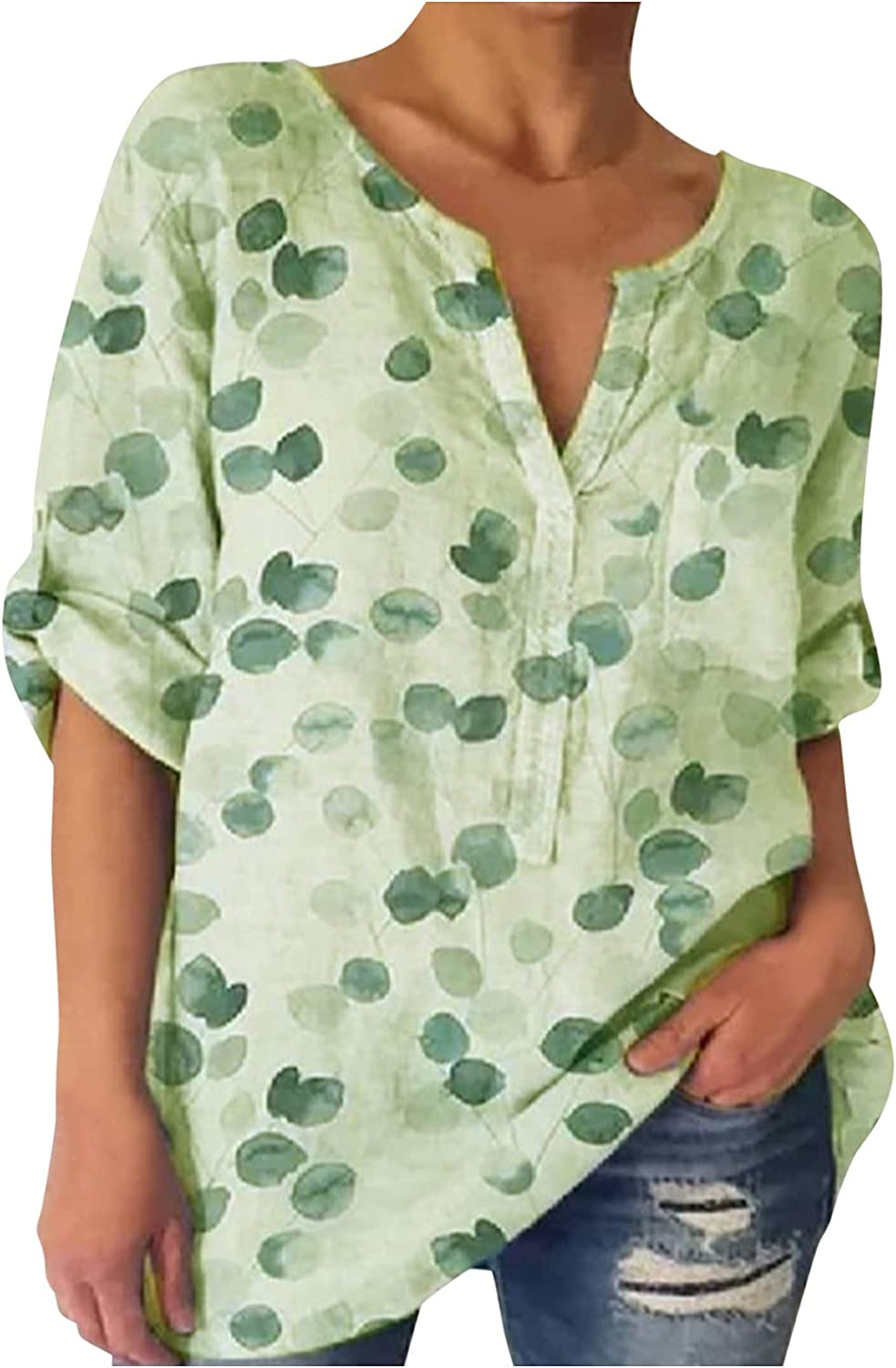 Plus Size Summer Casual Tops for Women, V Neck Short Sleeve Button Down T Shirts Retro Priting Blouses for Women