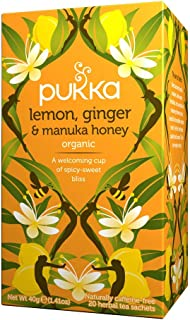 Pukka Herbs Lemon, Ginger & Manuka Honey, Organic Herbal Tea Bags, 20 Tea Bags (Pack of 1)