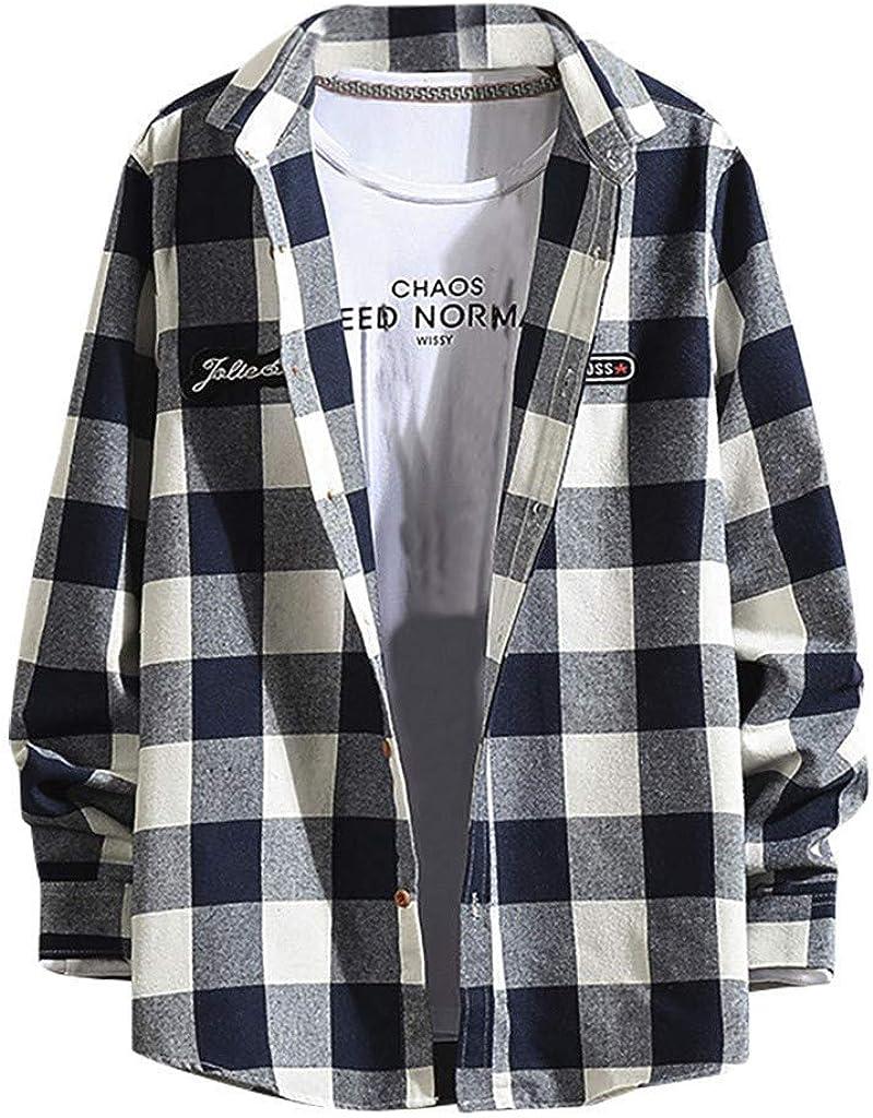 FORUU Men's Plaid Shirts Plus Size,Sale New Tendy Casual Fashion Loose Long Sleeve Lapel Shirts Tops Lightweight Coat