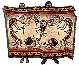 Kokopelli Pot Dance - Southwest Cave Rock Art - Roger Kull - Cotton Woven Blanket Throw - Made in The USA (72x54)