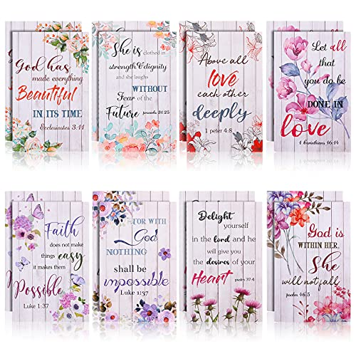 16 Pieces Flower Daily Prayer Faith Journals for Women, Rustic Floral Patterned Christian Bible Verse Notebooks Inspirational Scripture Quotes Pocket Notepads, School Office Supplies, 4.9 x 3.1 Inches