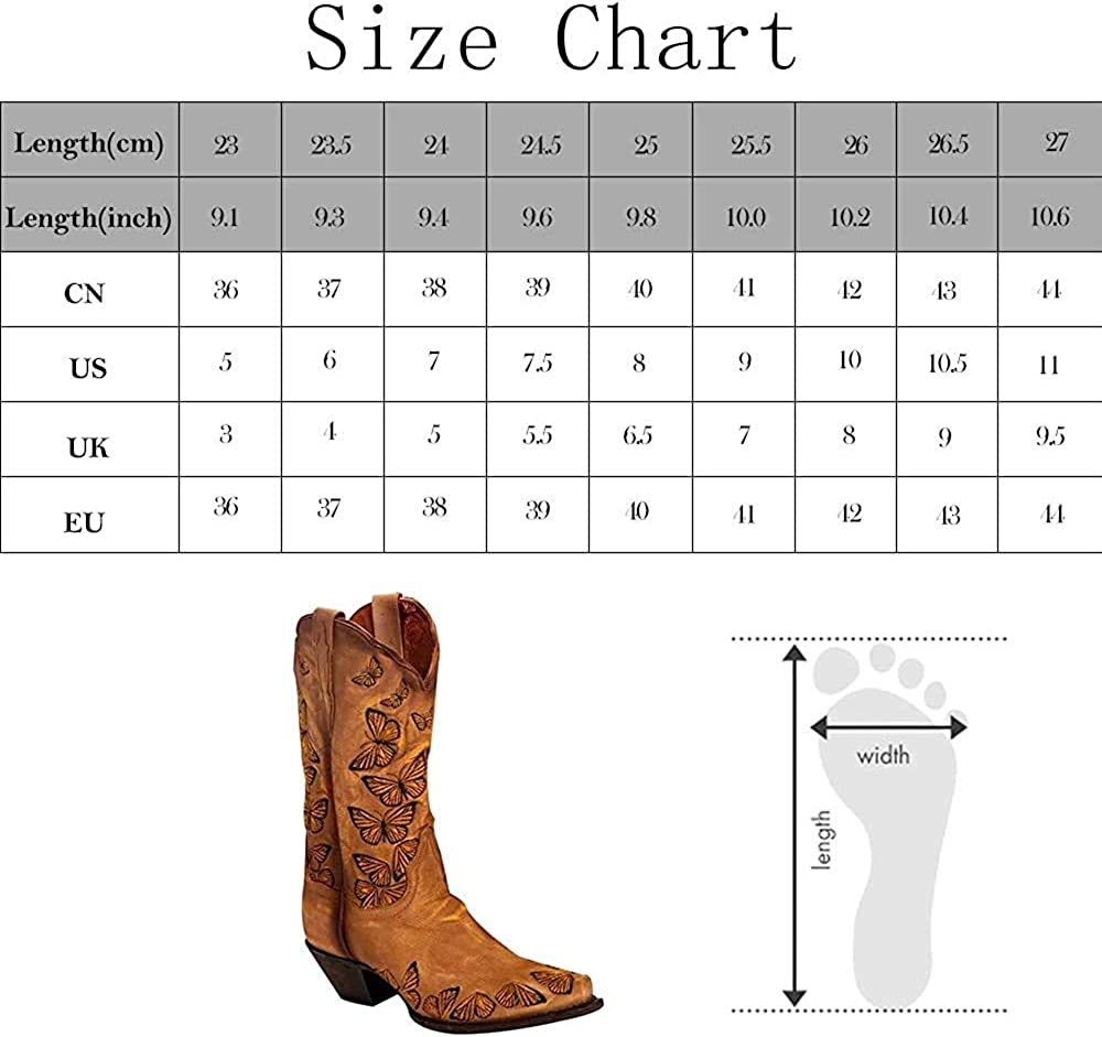 SO SIMPOK Women's Retro Western Cowboy Boots Butterflies Embroidered Mid Calf Chunky Heel Boots