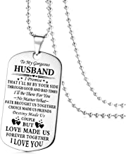To My Husband Dog Tag Necklace Stainless Steel Personalized Couples Pendant Necklace for Birthday Valentine's Day Gifts