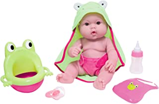 """JC Toys - Lots to Love Babies 14"""" All Vinyl Doll  7 Pieces Gift Set with Frog Potty, Bottle, Pacifier, Bib, Hooded Towel, ..."""