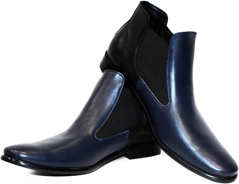 Peppeskor Modello Tristan - handgjord italiensk läder herr herr herr Färg blå Ankle Chelsea stövlar - Cowhide Smooth läder - Lace -Up  många medgivanden