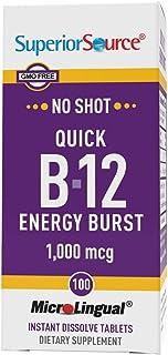 Superior Source No Shot Vitamin B12 Methylcobalamin (5000 mcg), B6, Folic Acid, Quick Dissolve Sublingual Tablets, 60 Ct, ...