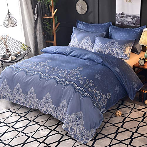 Duvet cover and pillowcase bedding quilt cover double bed room king-size bed-lace tile blue