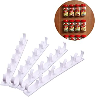 Kitchen Spice Rack Organizer 20 Spice Gripper Clip Strips Cabinet Door for Spice Containers - 4 Strips, Holds 20 Jars
