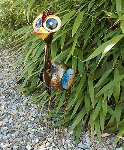 Trendshop-online Bunter exotischer Vogel Emu Reiher Paradiesvogel Teichfigur Garten 52 cm Metallvogel Skulptur Metallfigur Windlicht
