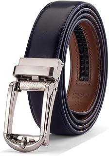 Men's Ratchet Belt Comfort Dress with Slide Click Buckle, Adjustable Belt Trim to Exact Fit