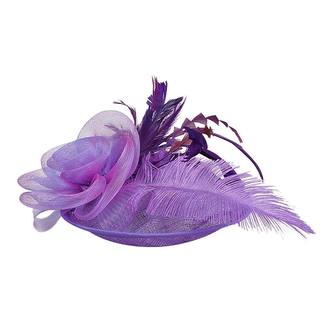 事前に可聴以来Merssavo 英国スタイルのブライダル帽子、女性のエレガントな花の羽のベールの帽子ヴィンテージリネンティアラヘアアクセサリードレス帽子、1#