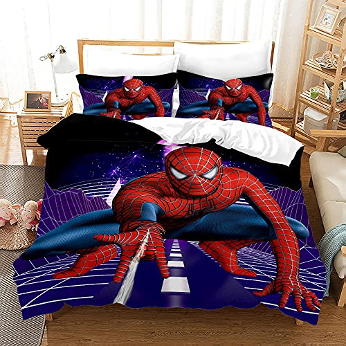 GSYHZL Spiderman 3D Print Pattern Funda Nórdica Funda de Almohada,Individual Doble King Size,Niños,Juego de Cama Favorito de Adolescentes-Spiderman 8_180x210(3PCS)