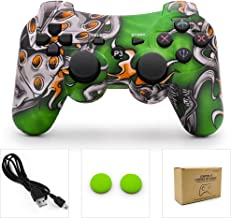 PS3 Controller Wireless Dualshock Remote/Gamepad for Sony Playstation 3 Bluetooth PS3 Sixaxis Joystick with Charging Cable(Green Monster)
